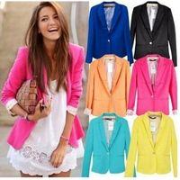 Yeni Blazer Kadın Takım Elbise Blazer Katlanabilir Ceket Astar Vogue Blazer Şeker Renk Bir Düğme Uzun Kollu Ceketler Sıcak Satmak