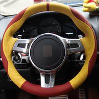 Ручной работы крышка рулевого колеса автомобиля красный желтый натуральная кожа для Porsche Cayenne Panamera 2012 2013