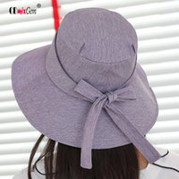 Summer Women' s new sunshade hat ladies bow solid color ...