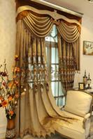 занавес европейский стиль роскошные роскошные шторы кружева водорастворимые полые вышивка спальня гостиная пользовательские готовые шторы