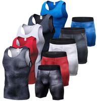 새로운 압축 근육 남자 패션 트랙 슈트 Demix 실행 세트 휘트니스 꽉 조끼 legging 반바지 남성 운동복 체육관 양복