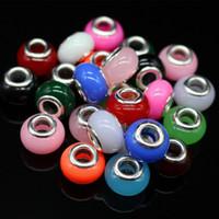 100 piezas 14 mm acrílico color mezclado gran agujero Diy cuentas de acrílico sueltas accesorios para collar pulsera ajuste joyería pulsera diy dijes encantos