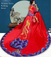 Wysokiej jakości Chiny Tradycyjna elegancka panna młoda ślub Cheongsam Sukienka Chiński Dragon Phoenix Suzhou Haft Gown Pokaż