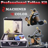 macchina del tatuaggio 40 colori inchiostro 50pcs aghi tip grip alimentatore set completo kit tatuaggio cassa da pedaggio professionale