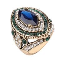 2020 الرجعية المجوهرات سيدة خاتم من الذهب خاتم الزواج من الذهب مطعمة الكريستال الأخضر الأزياء والإكسسوارات الجديدة بالجملة