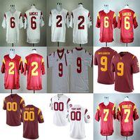 사용자 지정 USC 트로이 목마 대학 축구 유니폼 한정판 흰색 빨간색 개인 맞춤 스티치 번호 9 32 42 55 # 14 Darnold Jerseys S-3XL