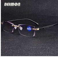 Belmon sem aro óculos de leitura das mulheres dos homens de diamante dioptria de corte óculos óculos masculinos presbiopia + 1.0 + 1.5 + 2.0 + 2.5 + 3.0 rs611