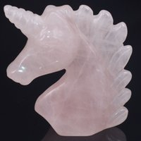 """2 """"Natural de Piedras Preciosas de Cuarzo Rosa Unicornio Estatuilla Reiki Curación Estatua de Cristal Curación de Energía Cristal Tallado envío gratis"""