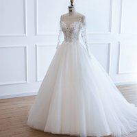 Tulle Ball Gown Wedding Dresses with Appliques 2019 Long Sle...