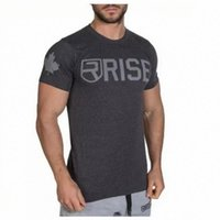 Mens Estate Palestre Fitness T-Shirt Crossfit Bodybuilding Slim Camicie O-Colletto maniche corte in cotone Tee Top Abbigliamento