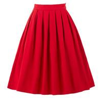 여자 치마 패션 Faldas Summer 2017 미디 스커트 여자 하이 웨스트 작업복 레드 블루 블랙 Jupe Femme Saias Vintage Skirt
