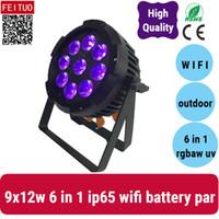 10x WIFI à piles dmx led allumage extérieur étanche 9X12W 6in1 RGBWA UV par 64