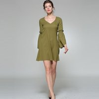 Feierhaosi V- Neck A- Line Women Dress Pure Color Sexy High Wa...
