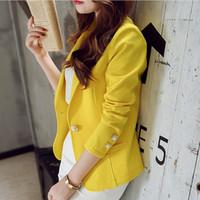 Mulheres Casacos 2018 Primavera Outono Casacos Casaco de Trabalho Formal Escritório Senhora Moda Lazer Magro Jaqueta de Manga Longa blazers Terno Amarelo
