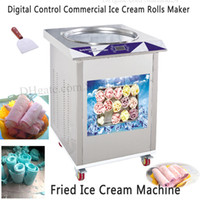55 cm Pan Kızarmış Dondurma Makinesi Elektrikli Dijital Kontrol Ticari Freeze Buz Yoğurt Makinesi Paslanmaz Çelik Marka Yeni