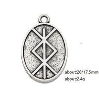 2021 Vikingos nórdicos Runas Amuleto Colgante Talismán Hombres DIY Joyería Maquilla Oval Forma Metal Encantos flotantes
