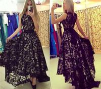 Kısa Ön Uzun Geri Siyah Dantel Gelinlik Modelleri Arapça Abiye giyim Yüksek Düşük Küçük Siyah Parti Elbise