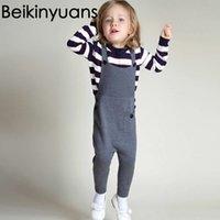 Nova Roupa do bebé Moda Outono / Inverno Roupa Crianças de malha de algodão Suspender Calças Crianças crianças Beikinyuans Roupa