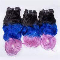 Ombre Menschliches Haar Haar Bündelt 3 Teile / los Drei Ton Farbige 1b Blau Rosa Körperwelle Malaysian Remy Haarverlängerung