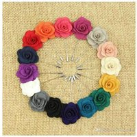 ラペルの花の椿の手作りBoutonniere Brooch Pinメンズアクセサリー16色のボタンスティックフラワーブローチウェディングパーティーのためのブローチ