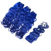 Vague de cheveux vierges de la Vierge 3 faisceaux avec fermeture en dentelle 4Pcs / lot Trame de couleur bleue humide et ondulés avec fermeture 4x4