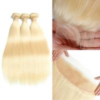 Cheveux raides brésilien 613 faisceaux de cheveux blonds avec dentelle fermeture frontale 10-30 pouces vague de corps remy