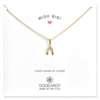 Dogeared WISH BIG necklace gold silver wishbone charm neckla...