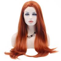Orange Spitze-Front-Perücke Hitzebeständige Faser synthetische lange natürliche gerade natürliche Haarlinie synthetische Haar-Orange Perücke für weiße Frauen