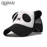 QUJIAHI Çocuk Şapka Panda Örgü Kap Açık Güneş Şapka Gölge Beyzbol Şapkası Erkek Kız Boyutu 45-55 CM Snapback