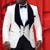 Costumes d'Ivoire pour hommes Pinstripe Groomsmen de mariage portent le noir Lapel Fait sur mesure coupe classique smokings marié 3 Piece Veste Pantalon Ves