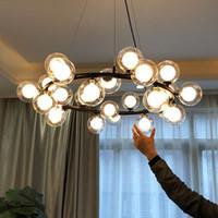 Avize Tavan Modern Yemek Oturma Odası Için Led Asılı Işıklar Cam Ampul Restoran Lambası Avizeler Sihirli Fasulye Modern LED Kolye
