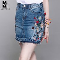 spring summer woman skirt colorful floral pattern embroidery...