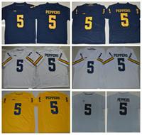 Ucuz Erkek Michigan Wolverines 5 Jabrill Peppers Koleji Futbol Formalar Sarı Mavi Beyaz Jabrill Peppers Dikişli Futbol Gömlek
