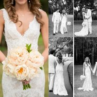2017 Cheap Full Lace Wedding Dresses Deep V Neck Backless Sleeveless Mermaid Chapel Train 2016 Vintage Summer Wedding Bridal Gowns Plus Size
