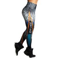 لا تتوقف رسالة طباعة اللياقة البدنية النساء طماق 3d مطبوعة bodycon سليم الرجل jeggings عالية الخصر الرياضية اليوغا التدريب نحيل السراويل