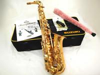 Japon SUZUKI ZK-564 Profesyonel Yüksek Kaliteli Müzik Aletleri Alto Saksafon Eb Ton Pirinç Altın Kaplama Inci Düğmeler Sax
