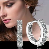 Orecchini a cerchio in argento sterling 925 con diamanti Orecchini a forma di orecchini da donna con chiusura a bottone