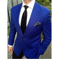 Custom Made Royal Blue Mens Abiti Smoking dello sposo Groomsmen Wedding Party Dinner Best Man Suits Blazer (Jacket + Pants)