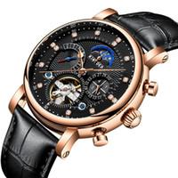 KINYUED nagelneue Uhr Schweizer Automatik-Mode Ledereinsatz Diamantstern der Männer ausgehöhlt mechanische Uhr