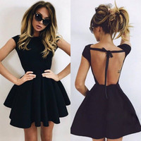 Sexy Black Short Homecoming Dresses Backless Cap Sleeve Abov...