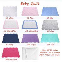 36 * 46 Zinch Ins Stickerei 100% Baumwolle Baby Quilts Leerzeichen Blanket Babulett gesteppte Babydecke Dusche Abdeckung Geschenk für Baby über 12 Farben