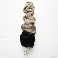 Ombre Mikro Halka Saç Uzantıları T1b / gri Vücut dalga mikro döngü saç extensions100G Gümüş Gri Gerçek İnsan Saç Uzantıları