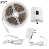 ICOCO Impermeable IP66 LED Sensor de onda de mano Tira de luz 3M 1.5A 12V Kit de luz regulable para enchufe de EE. UU.