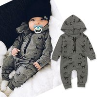 newborn baby boy clothes Christmas elk Printed Cotton Long S...