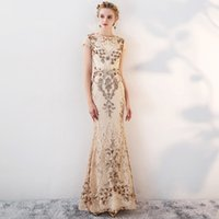 RY058 Long Formal Evening Dresses Crystal Sequin Pongee Spli...