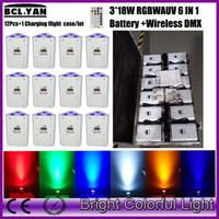 12XLOT with road case free shipping RGBWAUV 6 in 1 Battery W...