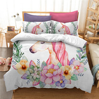 Cute 3D Unicorn Floral Bedding Set Kids Cartoon Duvet Cover ...