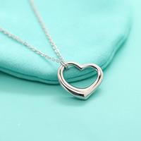 أنيقة tif ماركة مجوهرات الاسترليني 925 الفضة بسيط القلب المفتوح قلادة الحب قلادة العصرية بيجو هدية عيد للنساء