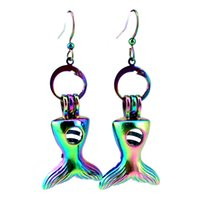 Z700 Rainbow Color Cute Fish Tail Beauty Pearl Cage Oorbellen Haken met 8mm Plastic Beads Girl's Gift