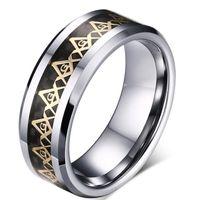 ZHF joyería mejor regalo para papá y el marido Popular clásico alta calidad de acero de tungsteno símbolos masónicos anillo para hombre de oro joyería de moda